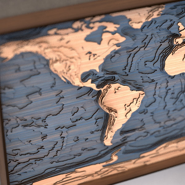 world topographic wood map angle