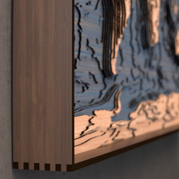 world topographic wood map frame rail detail