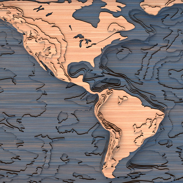 world topographic wood map closeup