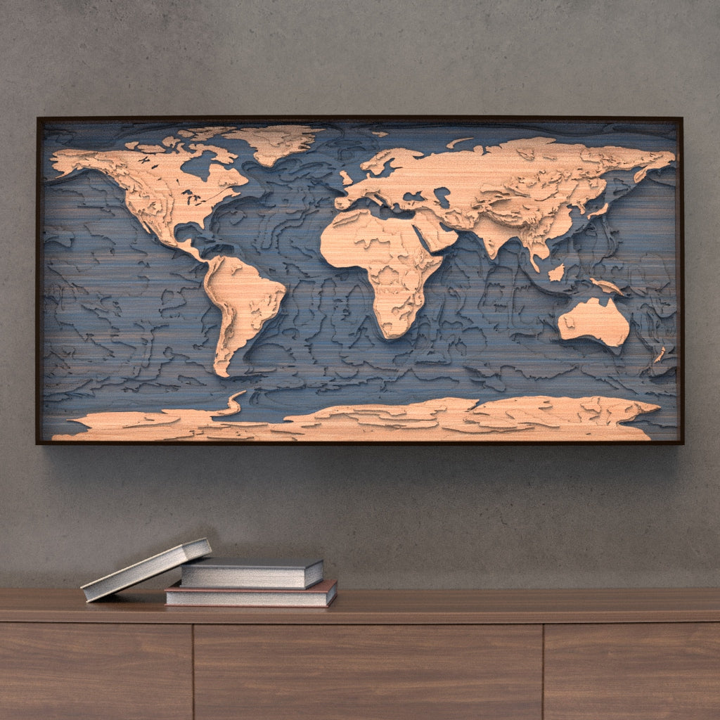 world topographic wood map styled