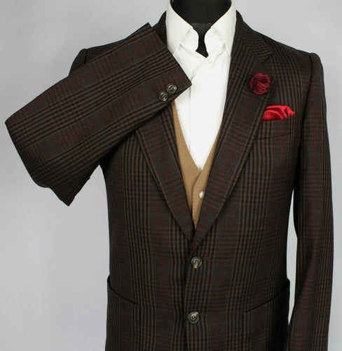 Yves Saint Laurent Blazer Jacket Brown Check 38R SUPERB GARMENT 3554