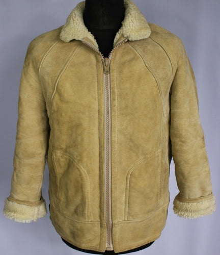 Shearling Sheepskin Suede Leather Beige Bomber Jacket 38S Small HANDMADE DL75