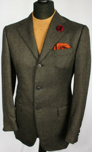 Blazer Jacket Brown Cashmere Italian Tailored 38R AMAZING PIACENZA FABRIC #2166