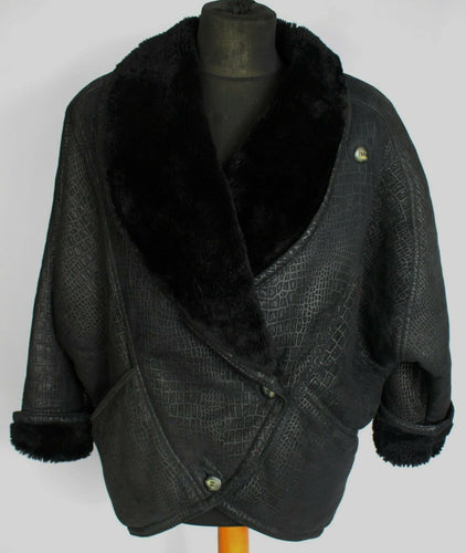 Shearling Sheepskin Leather 80's Vintage Jacket Black UK 14 EU 42 DL081