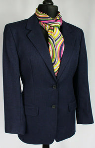 DAKS Signature Jacket Blazer Blue Wool Silk Linen UK 12 BEAUTIFUL JACKET 3041