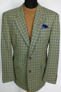 Loro Piana Blazer Jacket Blue Yellow Hugo Boss 42R SUPER 100's WOOL 3854