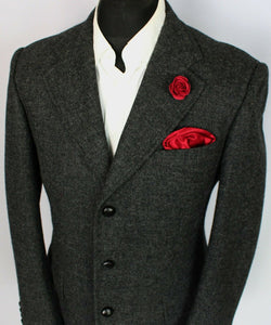 Tweed Blazer Jacket Grey Italian Made 40R MOON SHETLAND WOOL TWEED 3703