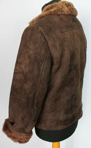 Shearling Sheepskin Suede Leather Brown jacket 38R Small DL96