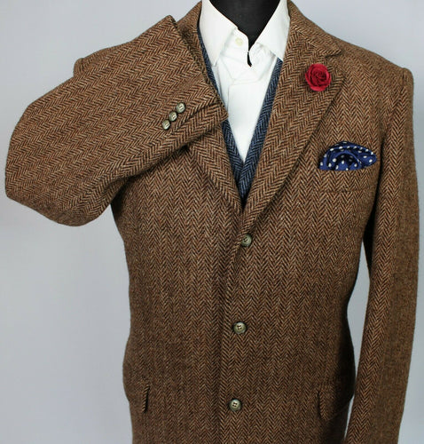 Harris Tweed Jacket Blazer Brown 44R HEAVY HAND MADE TWEED 3754