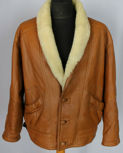 Shearling Jacket Coat Sheepskin Nappa Leather Brown 44 Large DL091