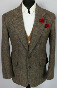 Harris Tweed Blazer Jacket Brown 38S SUPERB QUALITY 3698
