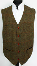 Load image into Gallery viewer, Irish Tweed Waistcoat Brown Windowpane 50R SUPERB COLOURS 3861