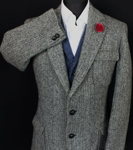 Harris Tweed Blazer Jacket Grey 38S RARE INSULATED LINING 3706