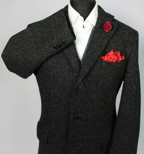 Harris Tweed Blazer Jacket Black 44S RARE COLOUR TWEED 3755