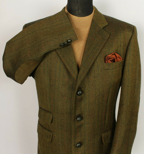 Tweed DAKS Signature Jacket Blazer Brown Check 44R SUPERB QUALITY 3769