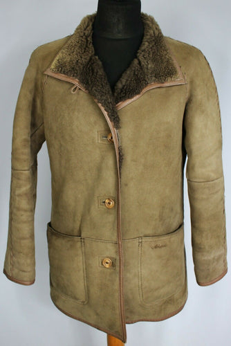 Shearling Sheepskin Suede Leather Brown Coat ALEKSANDER UK 12 EU 40 DL087