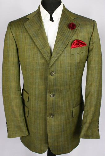 Burberry Blazer Jacket Green Lightweight 42R SUPERB QUALITY 3396