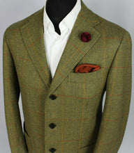 Load image into Gallery viewer, Country Tweed Jacket Blazer Green 42S ITALIAN BESPOKE HAND TAILORED 3367