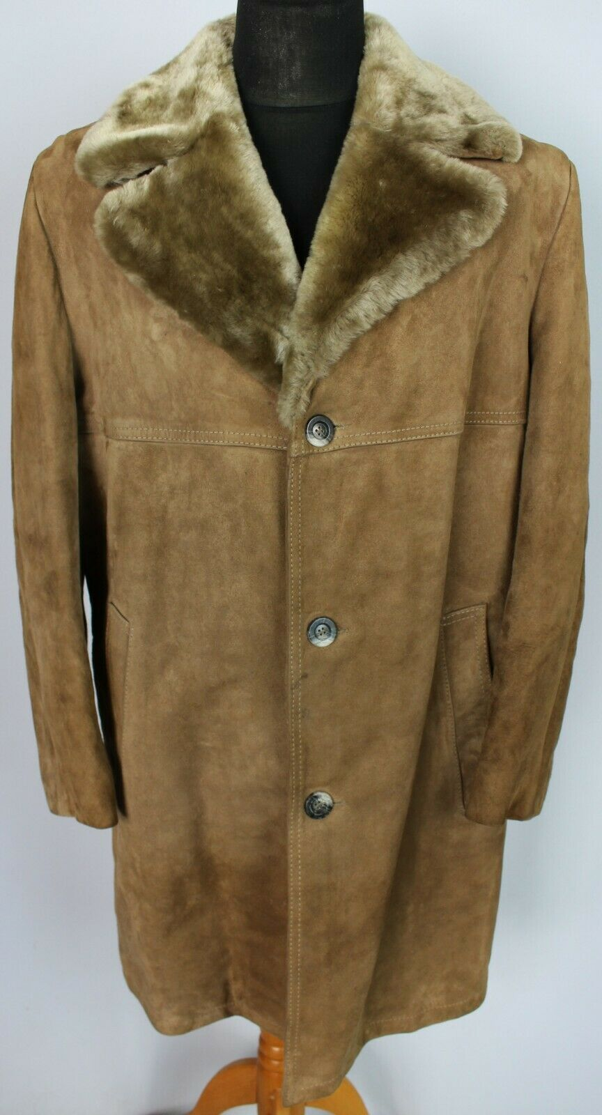 Faux Shearling Sheepskin Suede Brown Coat 44 Large DL98