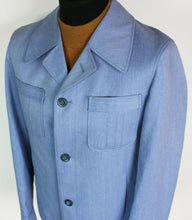 Load image into Gallery viewer, Safari Jacket Blue Angelo Litrico 1970's 40R SUPERB VINTAGE GARMENT 3892