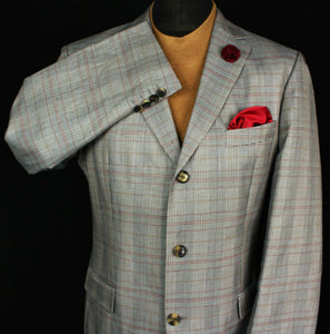 Hugo Boss Blazer Jacket Grey Glen Check 42R COTTON LINEN & SILK 2988