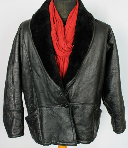 Shearling Sheepskin Jacket Black Leather Vintage UK 16 EU 44 DL088