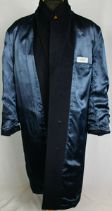 Blue Crombie Coat Overcoat Italian Made 46R EXCEPTIONAL GARMENT 3691