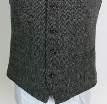 Load image into Gallery viewer, Tweed Waistcoat Grey Windowpane 42R SUPERB COLOURS 3846