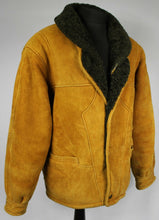 Load image into Gallery viewer, Shearling Leather Suede Vintage Sheepskin Jacket Tan Brown UK 20 EU 48 DL027