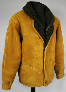 Shearling Leather Suede Vintage Sheepskin Jacket Tan Brown UK 20 EU 48 DL027