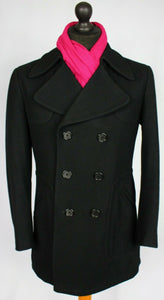 Pea Coat Reefer Jacket Black 36R EXCEPTIONAL GARMENT 3494