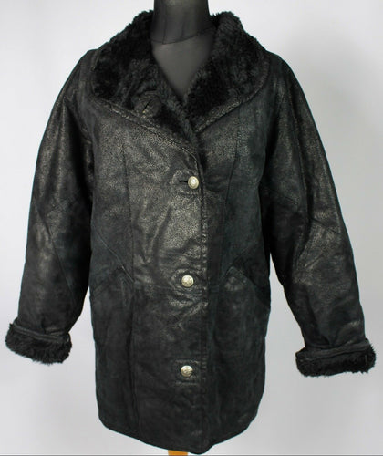 Leather Vintage Sheepskin Type Oversized Coat Black UK 10 EU 38 - DL018