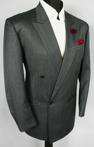 Grey Blazer Jacket Tombolini Double Breasted 40S WOOL & SILK