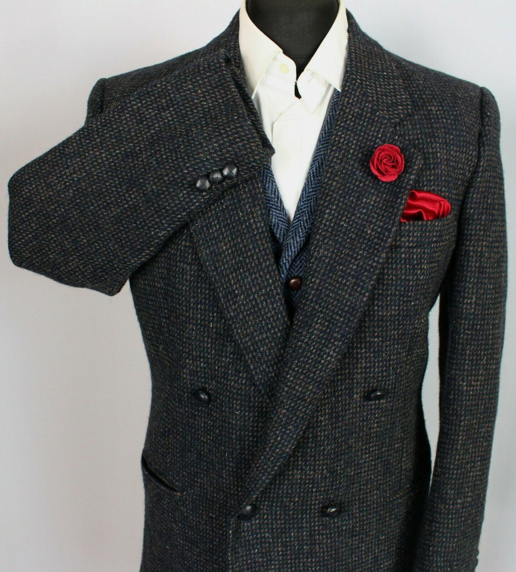 Harris Tweed Jacket Blazer Blue Double Breasted 42R SUPERB QUALITY 3794