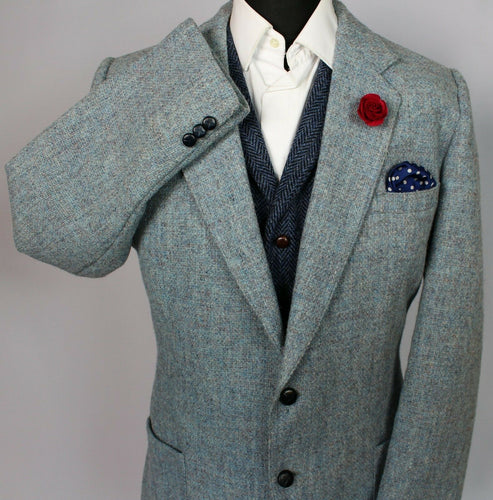 Harris Tweed Jacket Blazer Blue 44L RARE COLOURS 3752