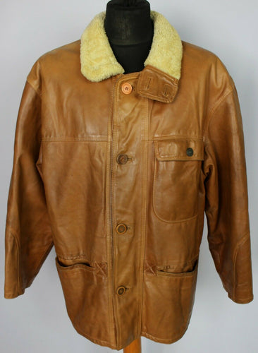 Tan Leather Vintage Jacket Coat 46 XL DL097