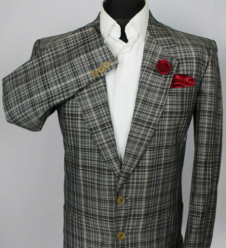 Blazer Jacket Trussardi Grey Check Cotton Designer 36R SUPERB 3726