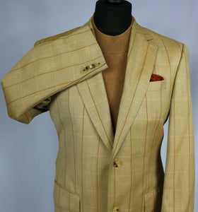 Joop Summer Jacket Blazer Tan Check Designer 40R Wool & Silk 2313