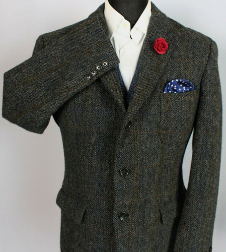 J Crew Harris Tweed Blazer Jacket Grey Wedding 44R SUPERB QUALITY 3793