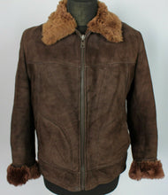 Load image into Gallery viewer, Shearling Sheepskin Suede Leather Brown jacket 38R Small DL96