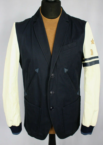 Diesel Varsity Jacket Blazer Blue White Designer 38R WONDERFUL UNIQUE 2209