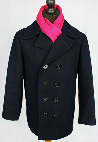 Pea Coat Reefer Jacket Navy Blue 40R EXCEPTIONAL GARMENT 3495