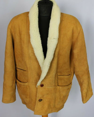 Tan Leather Vintage Sheepskin Jacket Coat 46/48 XL DL094