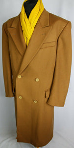 Coat Camel Brown Double Breasted Wool Cashmere 46R EXCEPTIONAL 3682