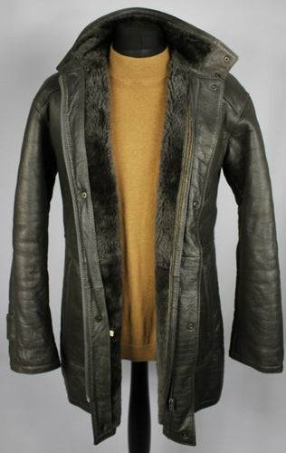 Faux Leather Shearling Type Coat Jacket Grey Vegan UK 38/40  DL011