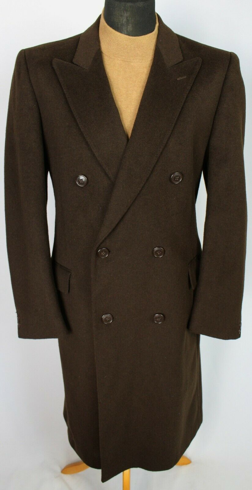 Coat Brown Double Breasted Wool Cashmere 42R EXCEPTIONAL 3741