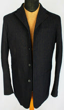Load image into Gallery viewer, FERRE Coat Jacket Black Gold Pinstripe Lightweight Designer 38R EXCEPTIONAL 3184
