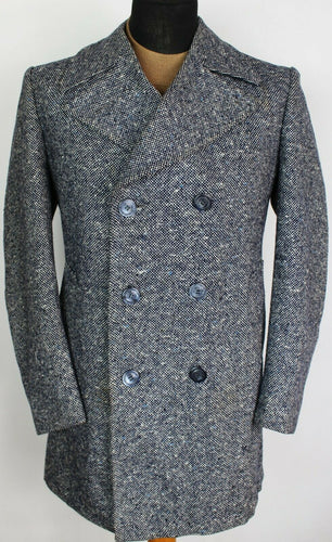 Tweed Coat Donegal Weave Blue White 40R HAND MADE GARMENT 3810