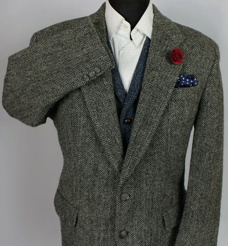 Harris Tweed Blazer Jacket Grey Wedding 44R SUPERB QUALITY 3785
