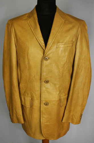 BOSS Leather Jacket Tan Brown Vintage 42 Large DL083